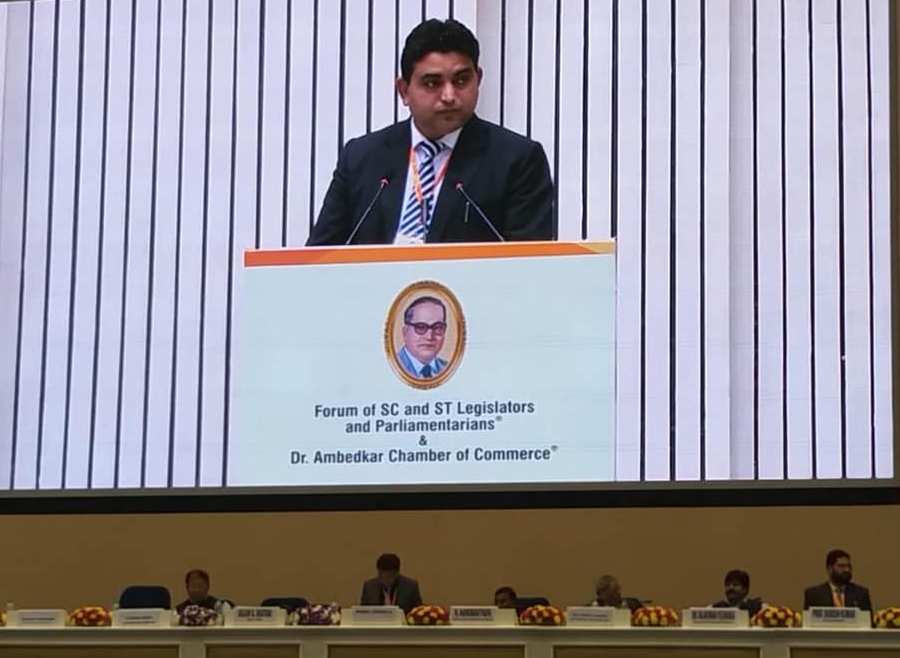 Minister for Health Care, Human Services and Family Welfare, IPR and Printings Department Mr. Arjun Kumar Ghatani who is also the executive member of Forum of SC / ST Legislators and Parliamentarians addressed the International Ambedkar Conclave at Vigyan Bhawan, New Delhi
