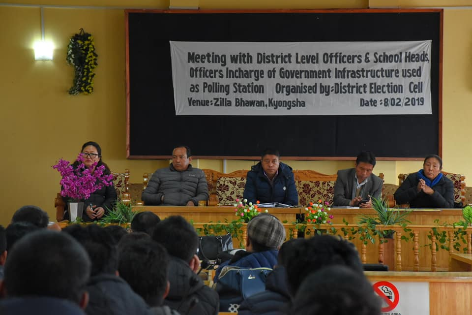 Meet held in Gyalshing with District Level Officer, School Heads, Officers-in-Charge of Government infrastructures used as Polling Station