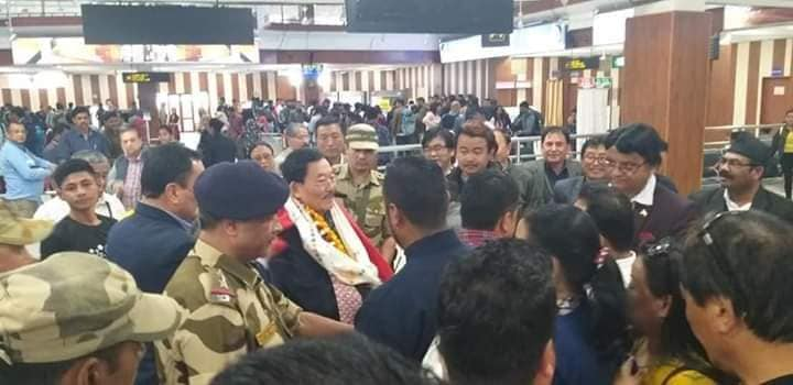Hon'ble Chief Minister Pawan Chamling reaches Bagdogra Airport from New Delhi