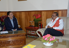 UNION MINISTER FOR SPORTS AND YOUTH AFFAIRS CALLS ON HCM AT MINTOKGANG ON 3RD JUNE 2017