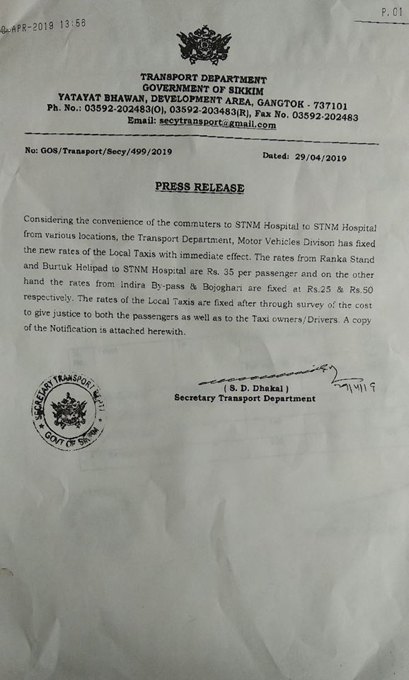 IMPORTANT NOTICE FROM TRANSPORT DEPARTMENT