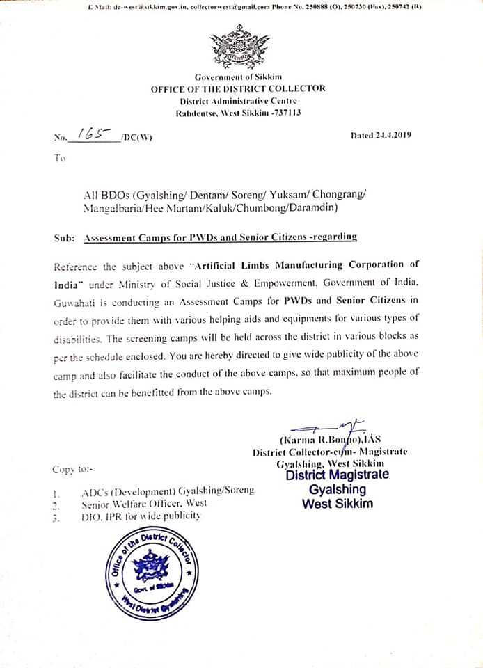 From the Office of the District Collector, West, Shri Karma R. Bonpo