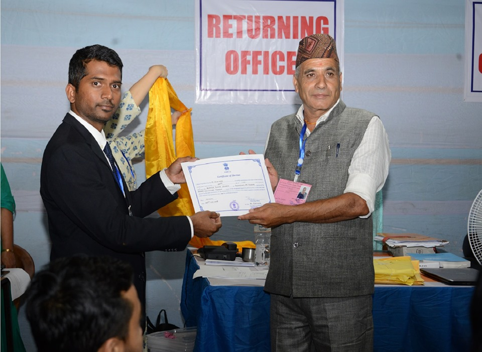 SKM CANDIDATE SHRI BISHNU KUMAR SHARMA FROM 19-RHENOCK RECEIVING CERTIFICATE OF ELECTION FROM DEO-EAST
