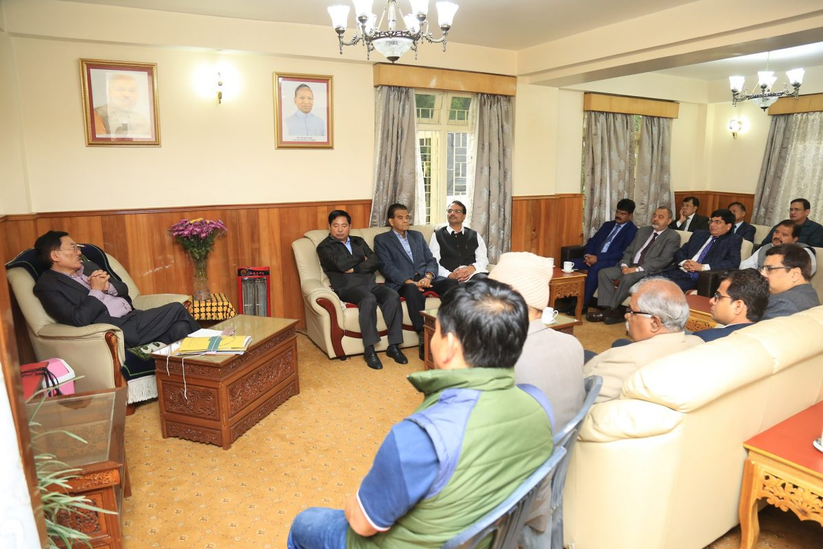 State CS along with HoDs call on caretaker CM Mr. Pawan Chamling at Mintokgang