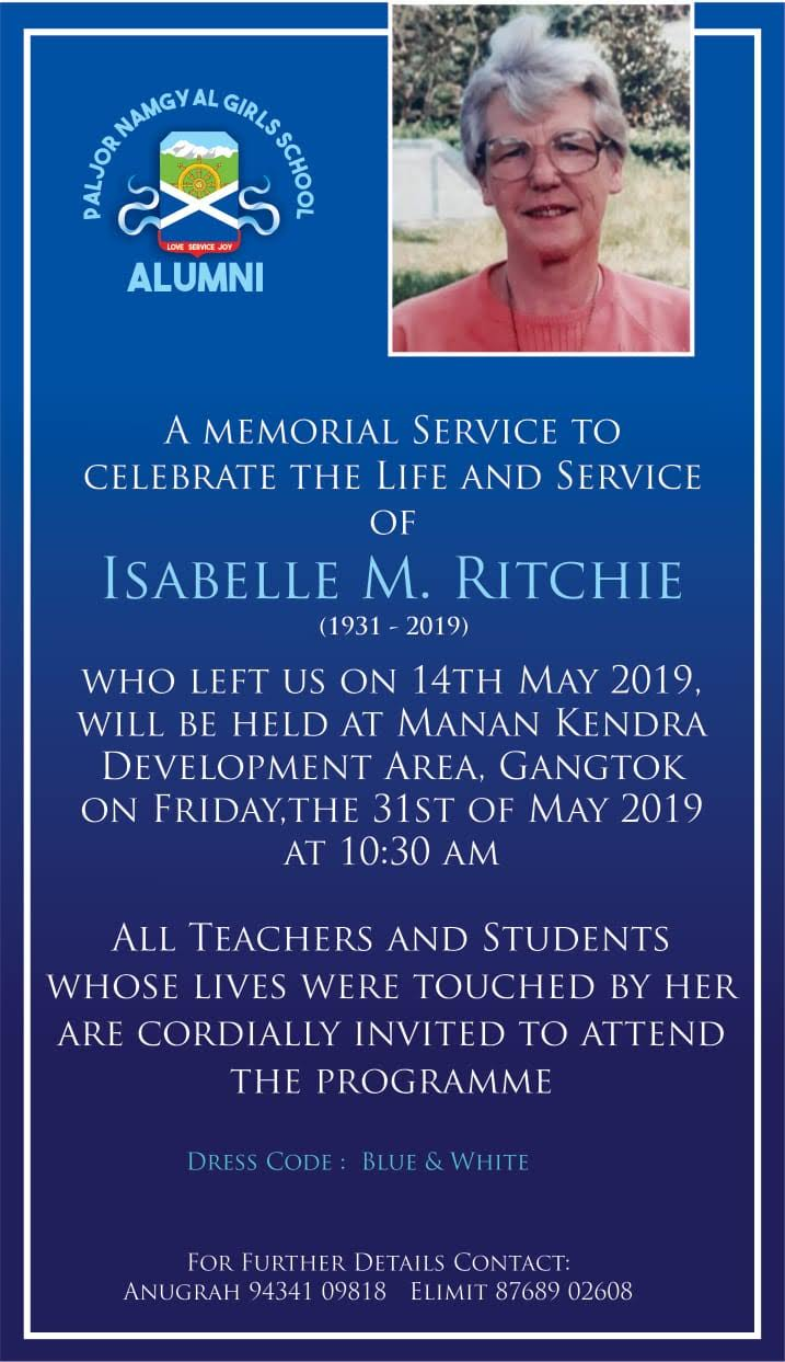 A MEMORIAL SERVICE TO CELEBRATE THE LIFE AND SERVICE OF ISABELLE M. RITCHIE
