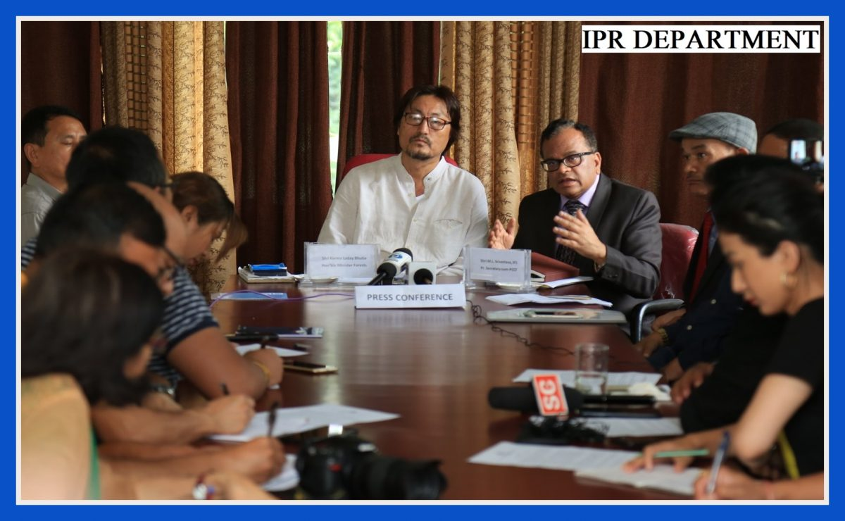 HON'BLE MINISTER SHRI. KARMA LODAY BHUTIA CHAIRED A PRESS CONFERENCE REGARDING THE CELEBRATION OF A DAY FOR MOTHER EARTH AT FOREST SECRETARIAT ON 2.07.2019