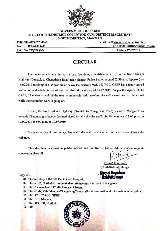 IMPORTANT CIRCULAR FROM THE OFFICE OF THE DISTRICT COLLECTOR-CUM-DISTRICT MAGISTRATE, NORTH DISTRICT, MANGAN