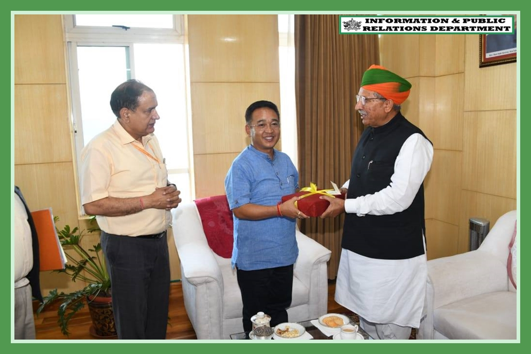 THE MINISTER FOR STATE FOR HEAVY INDUSTRIES AND PUBLIC ENTERPRISES SHRI ARJUN RAM MEGHWAL CALLED ON THE HON'BLE CHIEF MINISTER SHRI P.S. TAMANG (GOLAY) IN HIS OFFICE AT TASHILING, SECRETARIAT