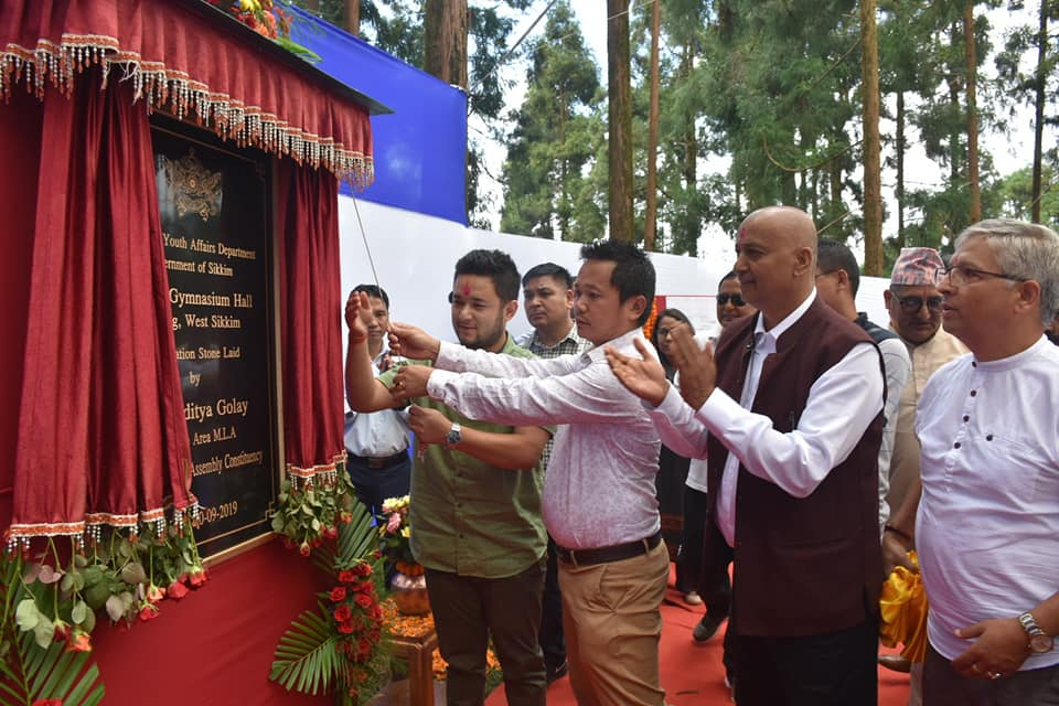 MLA SORENG CHAKUNG accompanied by Political Secretary to HCM lays the Foundation Stone for the construction of Indoor Gymnasium Building at Soreng