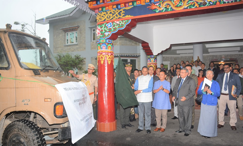 Hon'ble Governor flags off relief material for Yuksam landslide victims