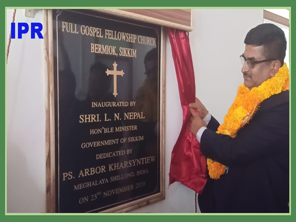 HON'BLE MINISTER SHRI L N SHARMA INAUGURATED FULL GOSPEL FELLOWSHIP CHURCH AT BERMIOK ON 23.11.2019
