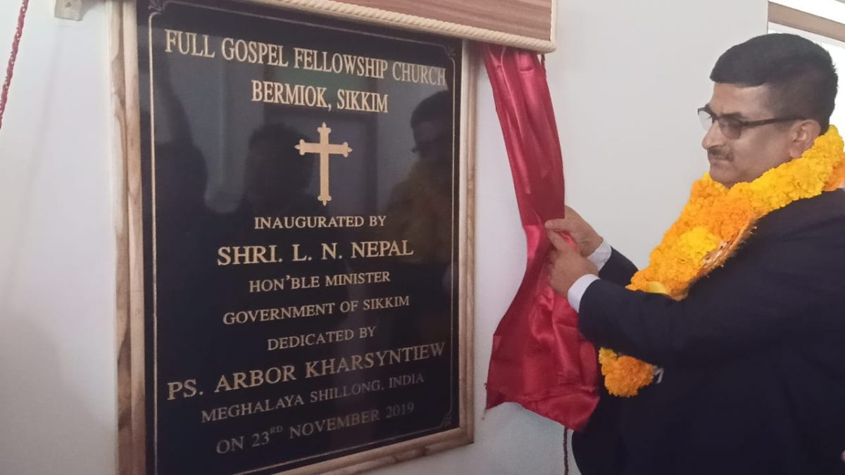 Hon'ble Minister Shri L N Sharma inaugurated Full Gospel Fellowship Church at Bermiok