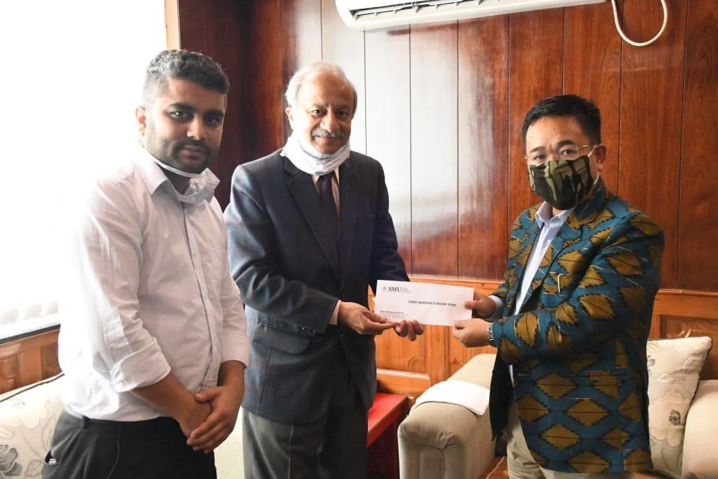 Sikkim Manipal University made a Contribution towards CM's Relief Fund