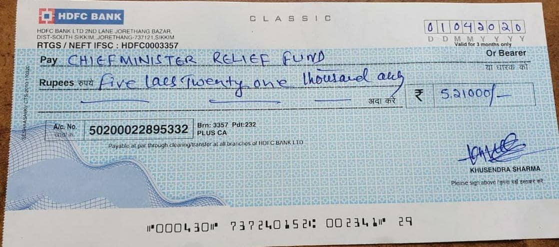 Some More Contribution Towards CM's Relief Fund to Fight Covid-19