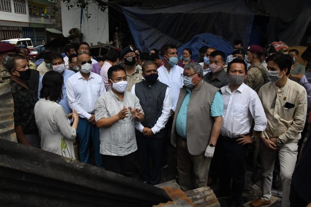 The Hon'ble Chief Minister Shri P. S Golay visits Singtam in fire aftermath