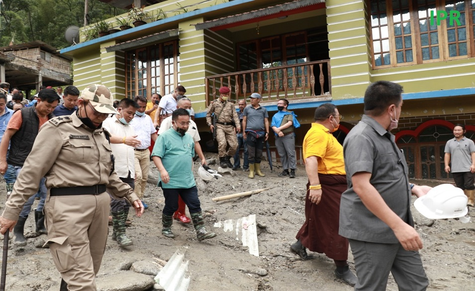 Hon'ble Chief Minister Shri P. S. Tamang took stock of flash flood affected areas in Passingdang