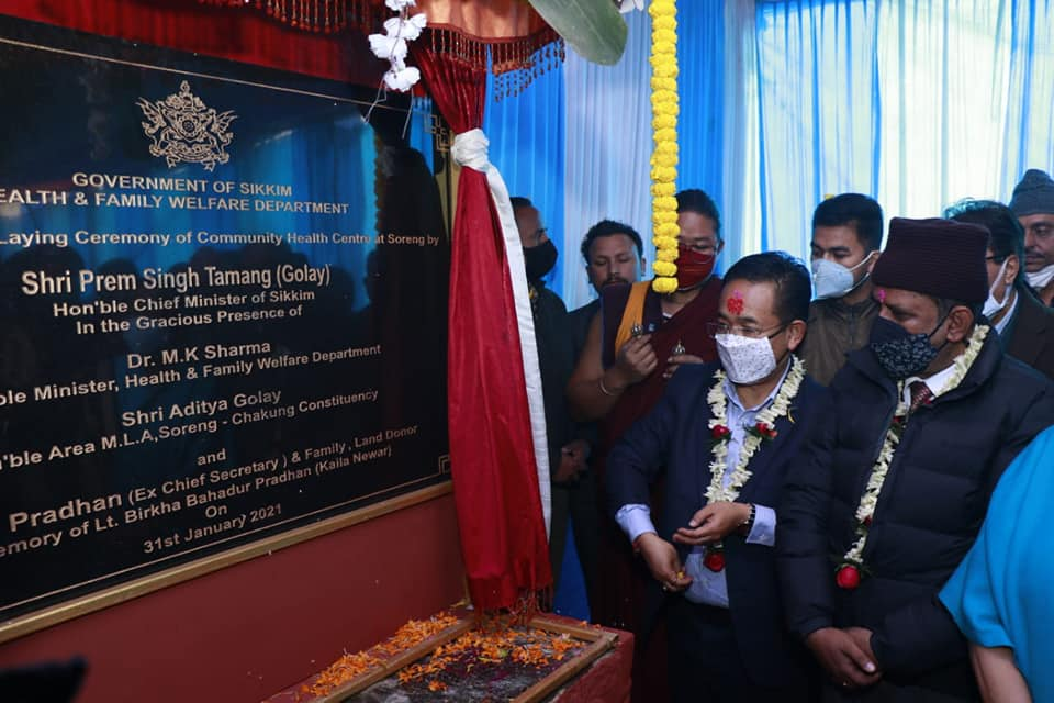 The Hon'ble Chief Minister attended the foundation stone laying ceremony of Community Health Centre at West Sikkim
