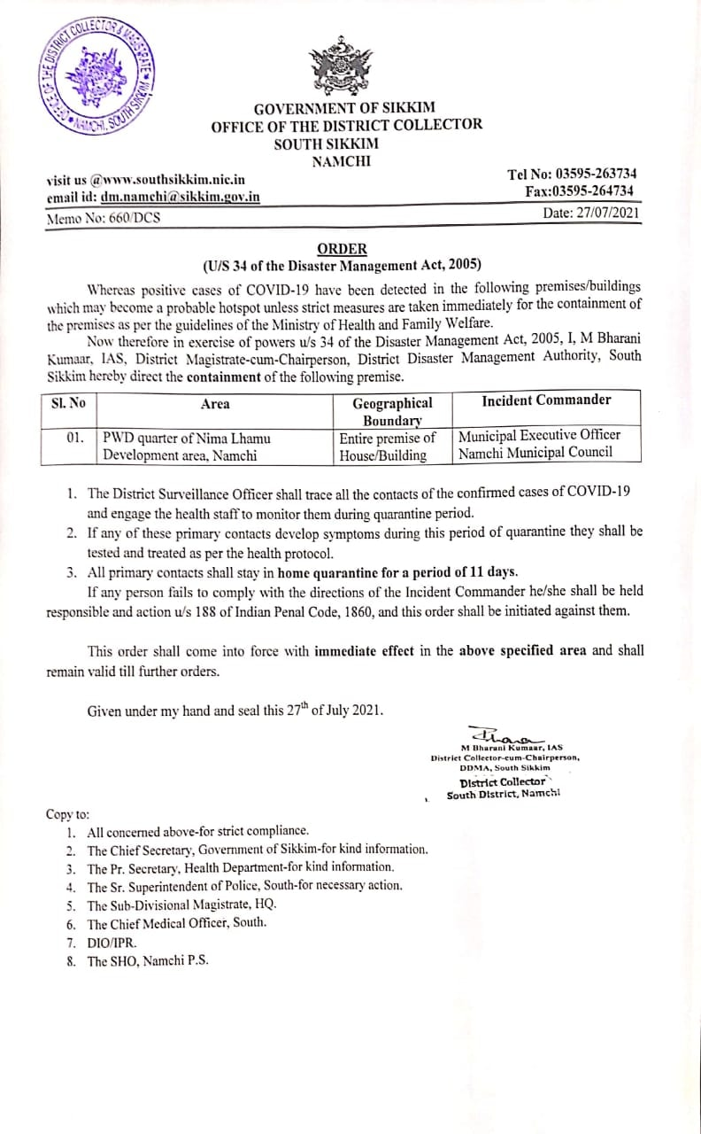 Containment order from the office of DC South