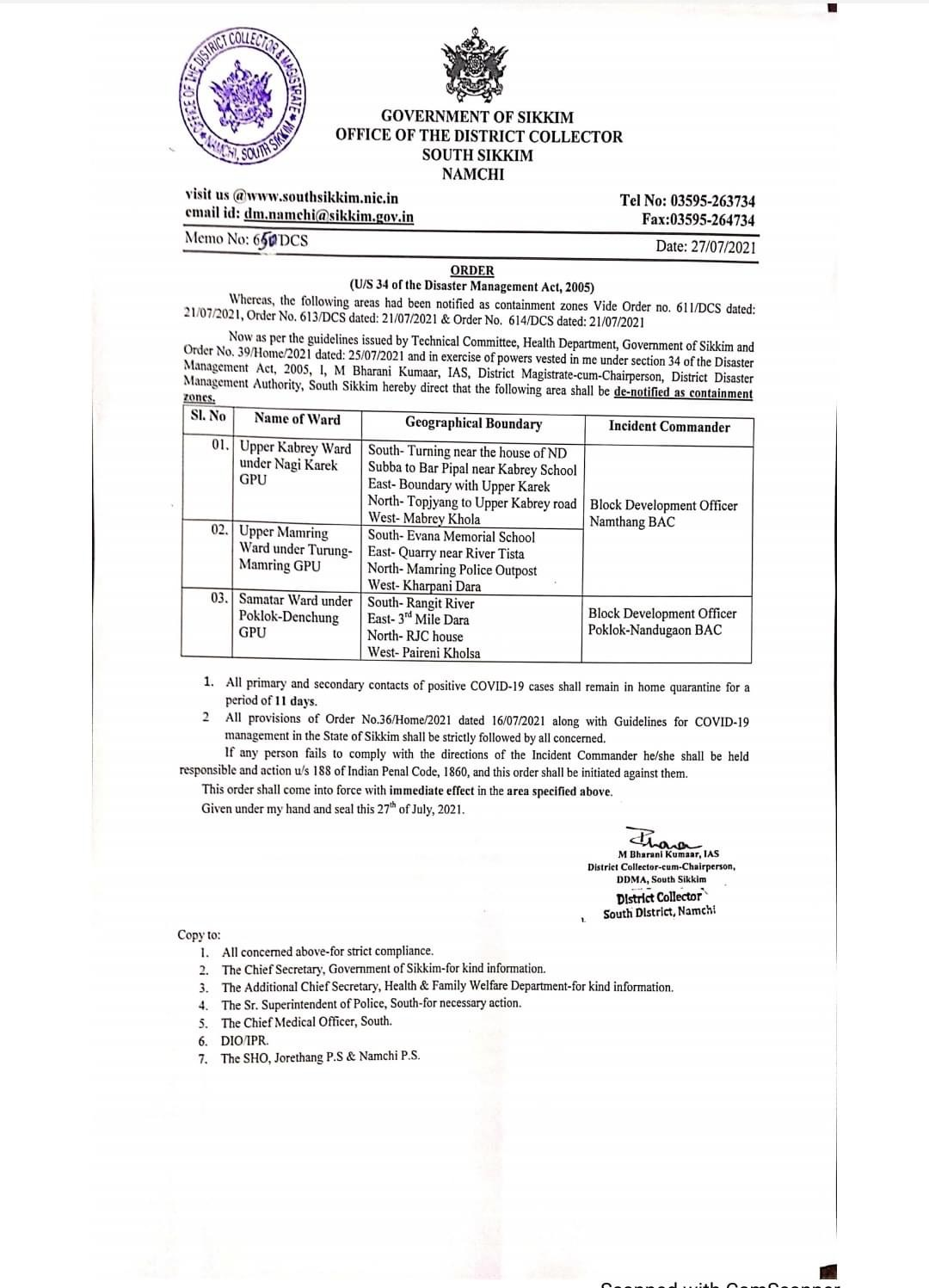 Following premises have been de-notified as containment zone under South District