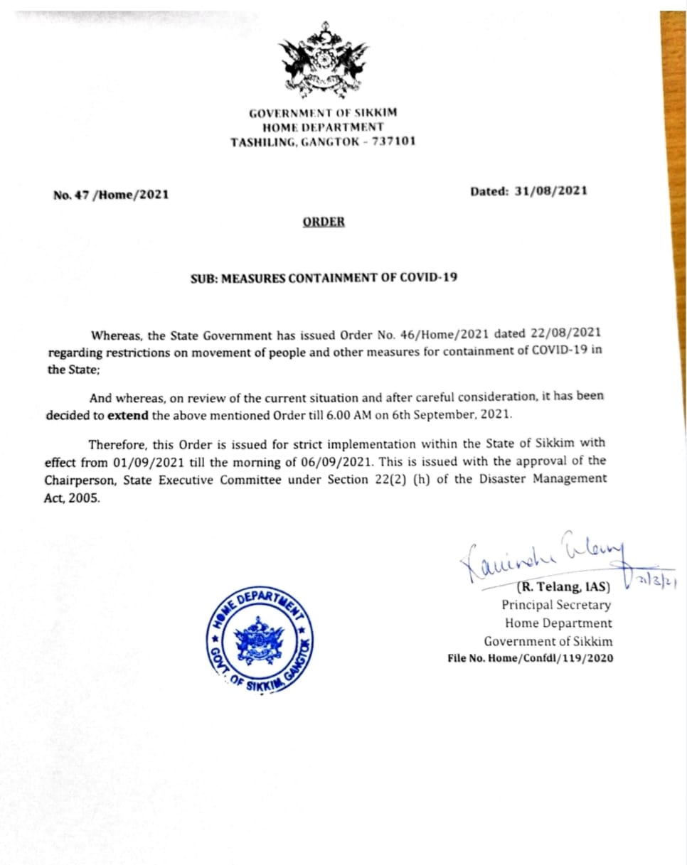 Order from Home Department, Government of Sikkim.
