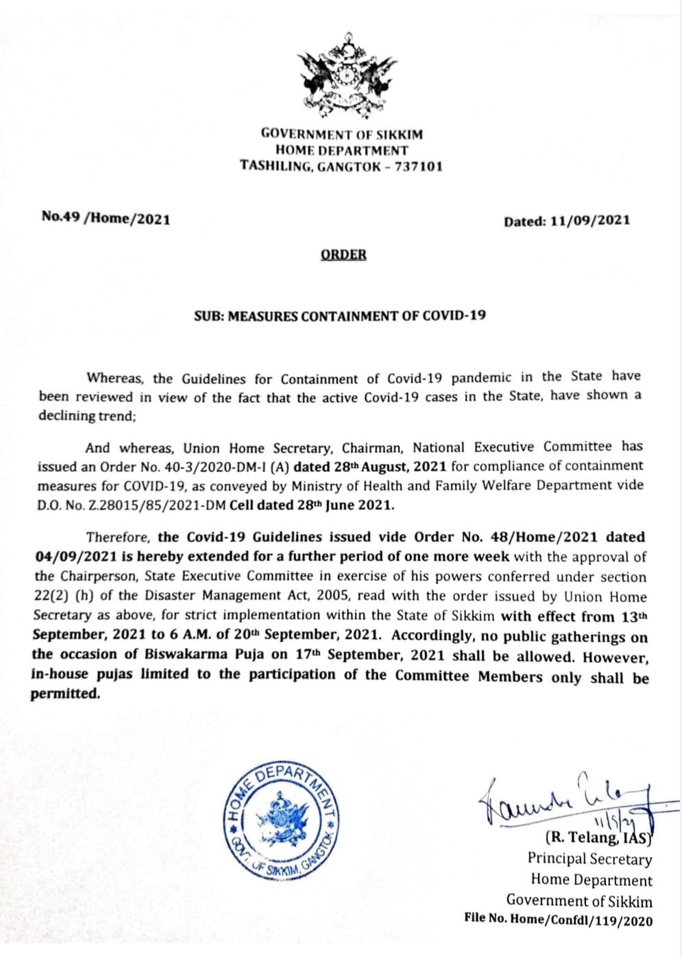 Covid-19 Order from Home Department, Government of Sikkim