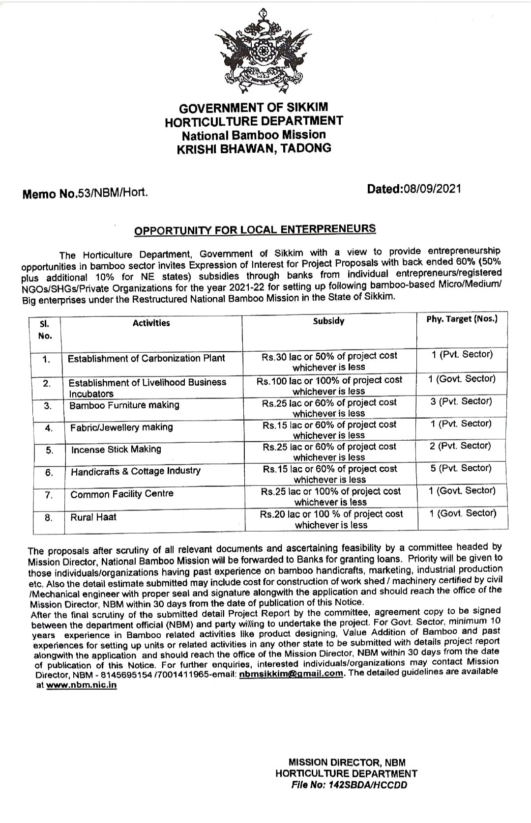 NOTICE: HORTICULTURE DEPARTMENT  National Bamboo Mission